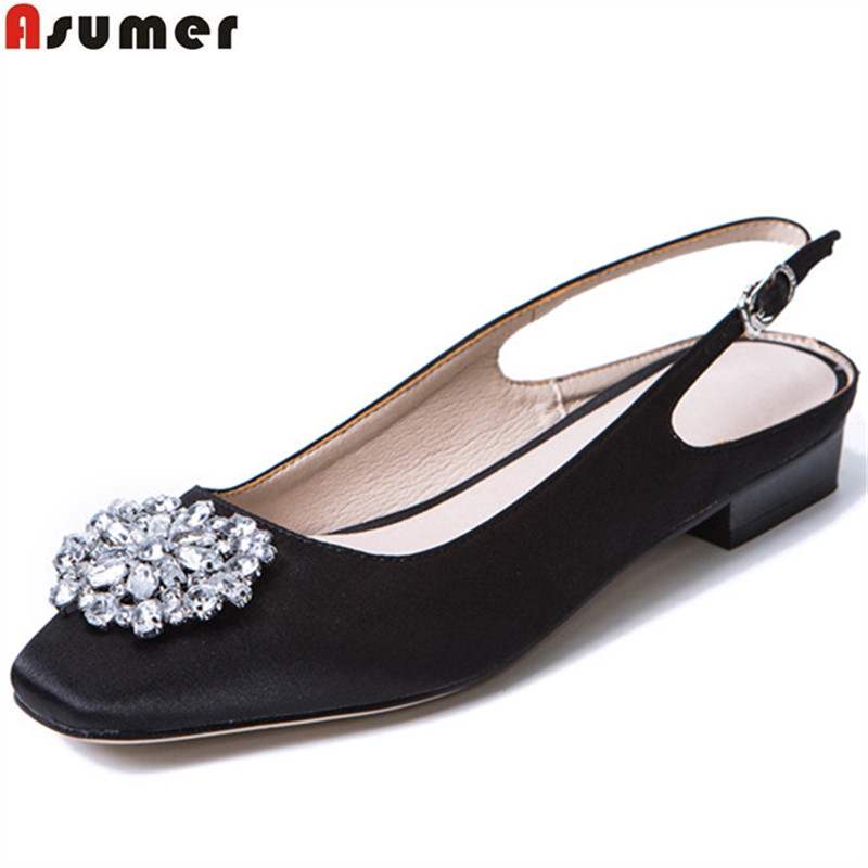 ASUMER black pink fashion spring autumn shoes woman square toe buckle casual women low heels shoes size 33-43 crystal asumer gold silvery fashion square toe buckle ladies single shoes spring autumn women high heels shoes big size 32 44