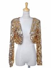 PrettyGuide Women Ds Clubwear Sparkly Sequin Long Sleeve Shrug Cardigan Jacket Cropped Outwear