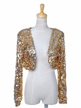 PrettyGuide Women  Ds Clubwear Sparkly Sequin Long Sleeve Shrug Cardigan Jacket Cropped Outwear