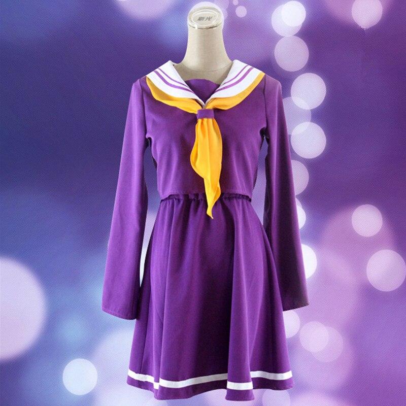 5Pcs Purple Cosplay No Game No Life Shiro Emboitement Heroine Sailor Suit Sweet Ladies Navy Uniform Sailor Costume Adult Dress