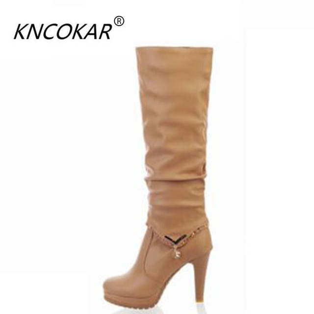 0ef33d9b157 Plus Size 35-43 Hot 2017 Autumn Winter Knee High Boots Women Motorcycle  Boots Two Way Wear High Heels Soft PU Leather Shoes