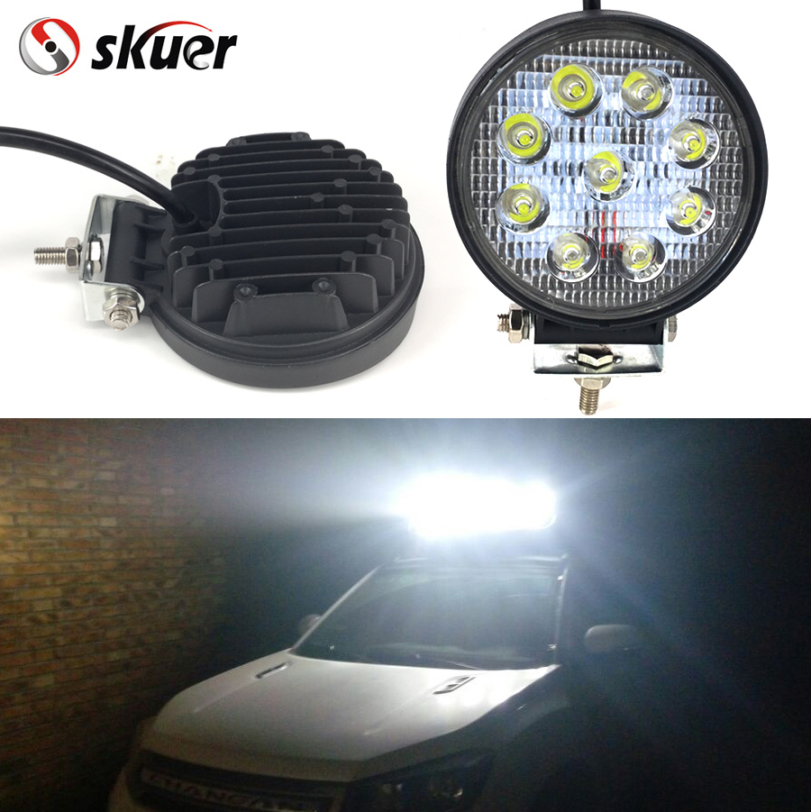 Skuer 27W led work light lamp offroad Spot/Flood 12V led tractor work lights for Trucks off road car ATV boat fog driving 18w 5d flood spot led work light atv off road light lamp fog driving light bar for 4x4 offroad suv car truck trailer tractor 12v