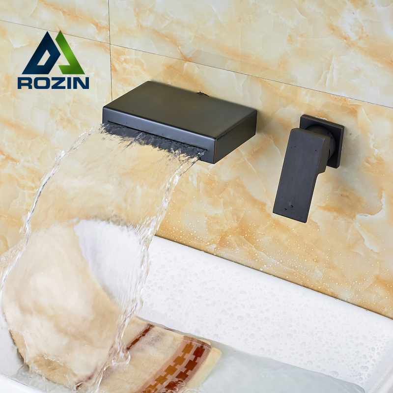 New Contemporary Oil Rubbed Bronze Waterfall Spout Bathroom Faucet Two Hole Wall Mounted Washing Basin Taps oil rubbed bronze square toilet paper holder wall mounted paper basket holder