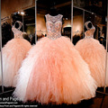 Shinny Coral Quinceanera Dresses with Crystals Beaded Puffy Tulle Ruffles Ball Gown Sweet 16 Dresses for Teens Party