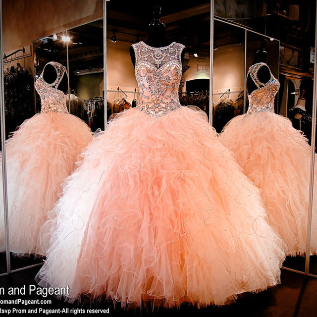8d35927c66 Shinny Coral Quinceanera Dresses with Crystals Beaded Puffy Tulle Ruffles  Ball Gown Sweet 16 Dresses for
