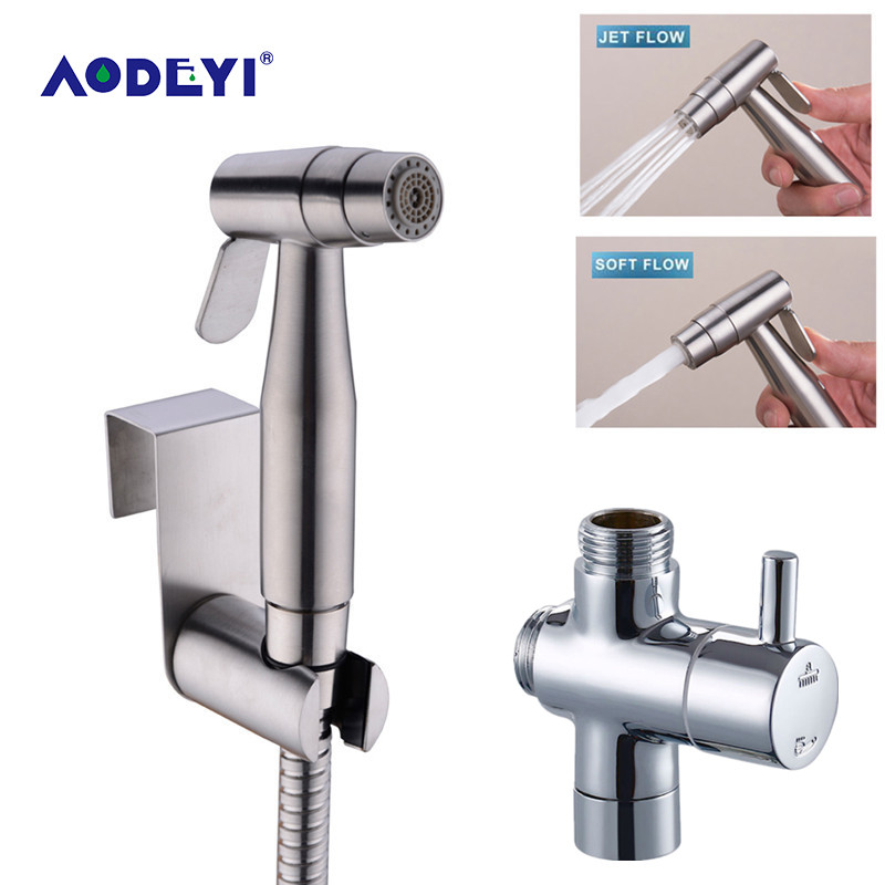 AODEYI Two Function Toilet Hand Held Bidet Diaper Sprayer Shower Shattaf Bidet Spray Douche Kit Jet 304 Stainless Steel Shower tramp eagle