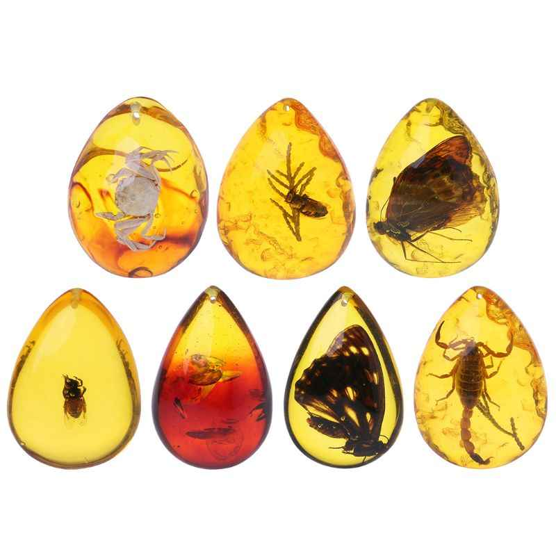 Beautiful Amber Butterfly Insects Flower Stone Pendant Necklace Gemstone for DIY Jewellery Pendant Crafts