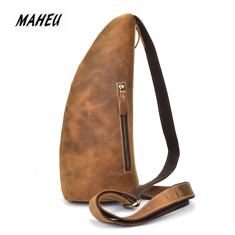 MAHEU Unique Mens ox horn Leather Chest Bag Real Leather Cow Skin Shoulder Back pack Crossbody