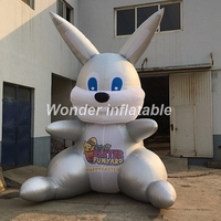 Custom new outdoor advertising giant silvery inflatable easter bunny inflatable rabbit for display