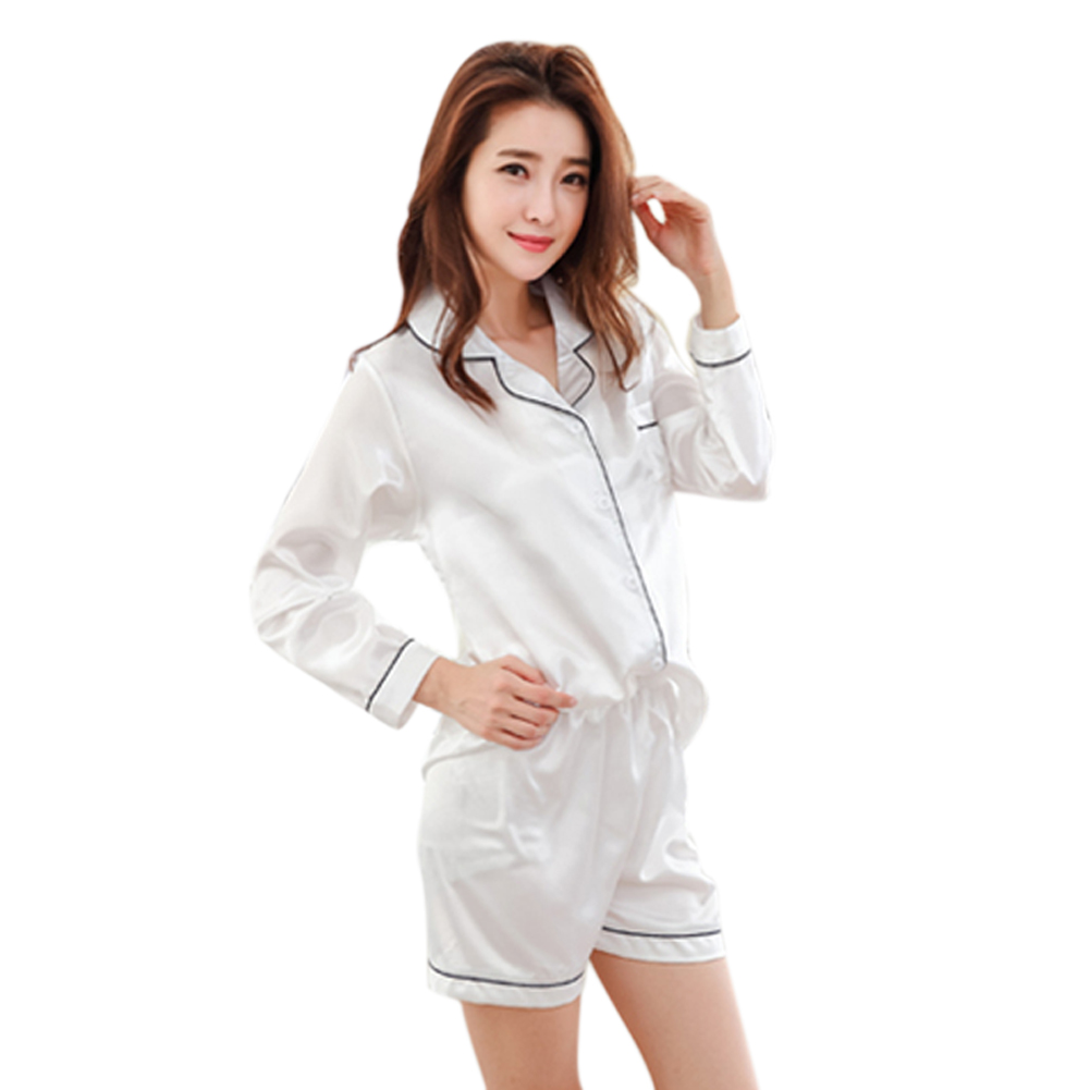 Women 2pcs/set Tops+panties Sleepwear Satin Loose Long Sleeve Short Panties Homewear -MX8