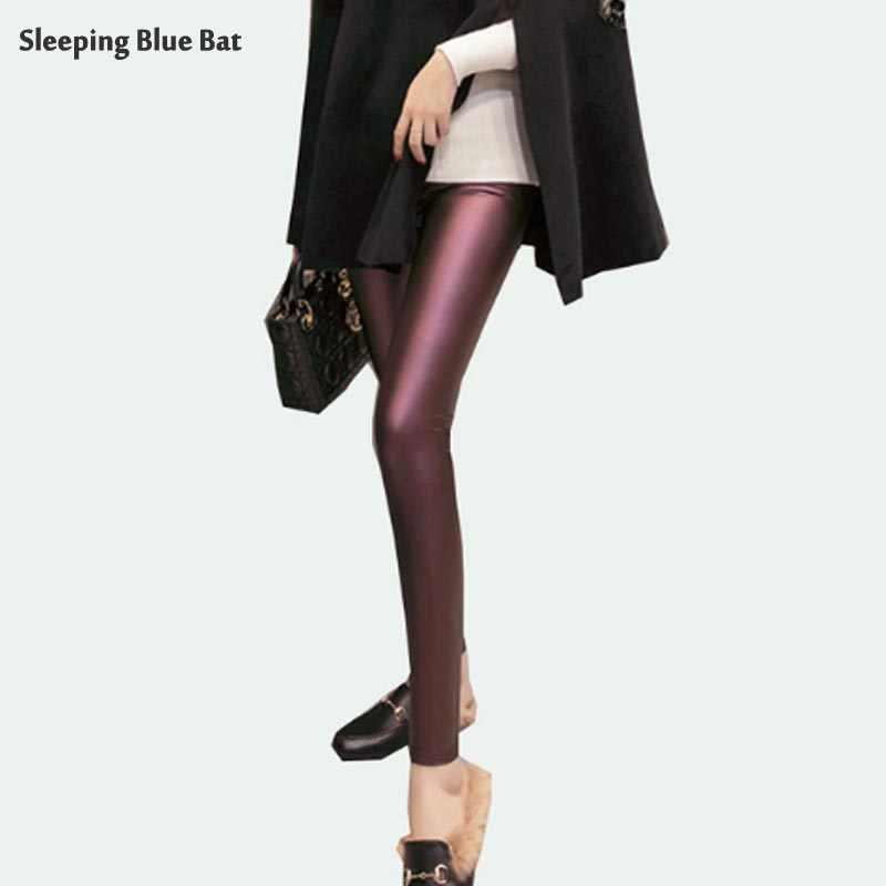 2019 Pu レザーパンツ女性弾性ズボンプラスサイズ 3XL 冬暖かいベルベット薄型スリム鉛筆のズボンハイウエストレギンス春