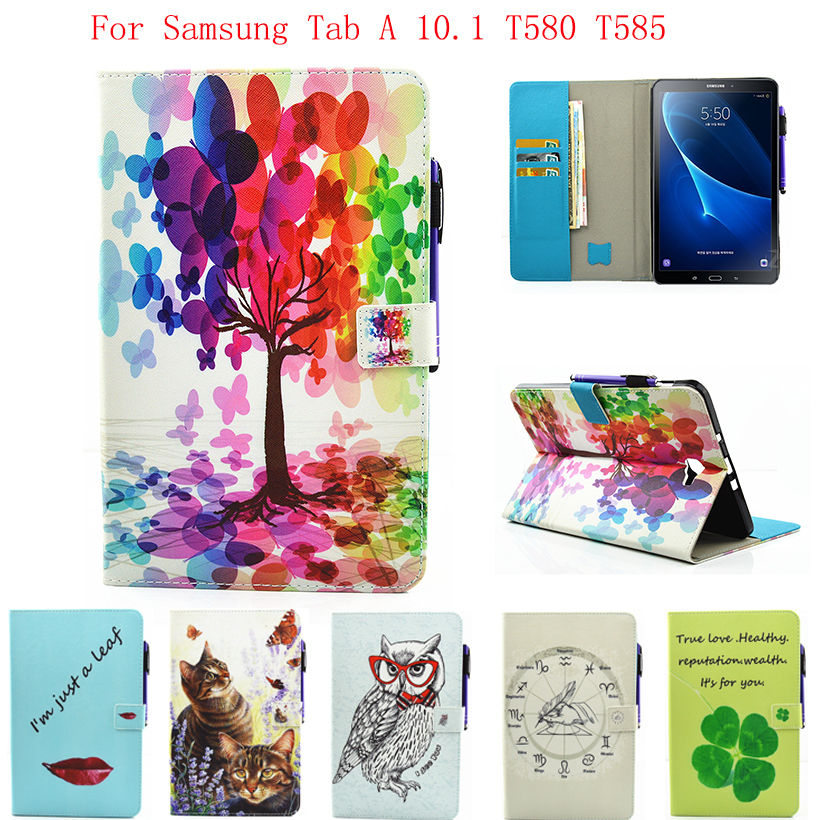 Fashion Case For Samsung Galaxy Tab A a6 10.1 2016 T580 T585 SM-T585 Case Cover Tablet Cartoon Print TPU+PU Leather Shell Funda все цены