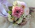 Винтаж Букет Artificiel Mariage Свадебные Цветы Синий Свадебные Букеты Искусственный Пляж Брошь Свадебные Букеты Де Mariage 2016