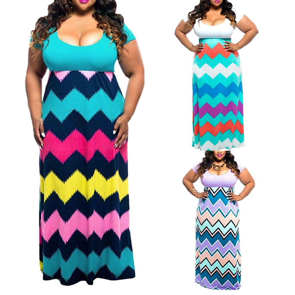 Women's Chevron Print Summer Short Sleeve Summer Patchwork Dress Plus Size Casual Long Maxi Dress Bohemian Dress 2020 PPYY