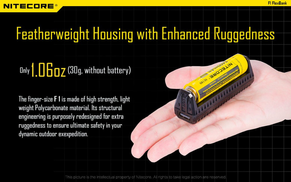 цена на New Original Nitecore F1 5V 1A USB Intelligent Finger Lithium Battery Charger Without Battery