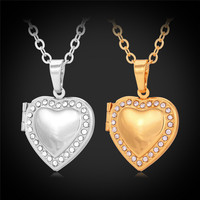 Heart Pendant Necklace Floating Lockets Charms For Women Austrian Rhinestone Crystal 18K Real Gold Plated Jewelry
