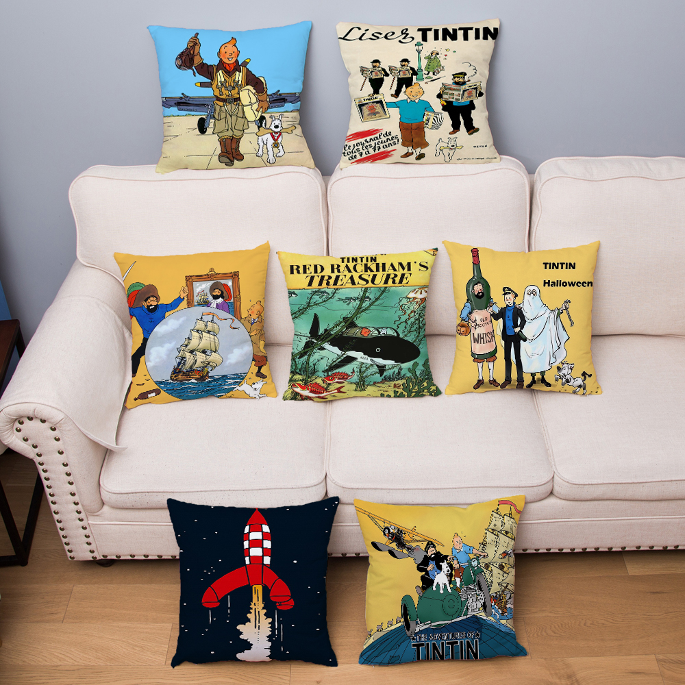 Adventures Of Tintin Print Cushion Cover 45*45cm Throw Pillow Cover Super Soft Short Plush Pillowcase Home Decor Pillows Cases