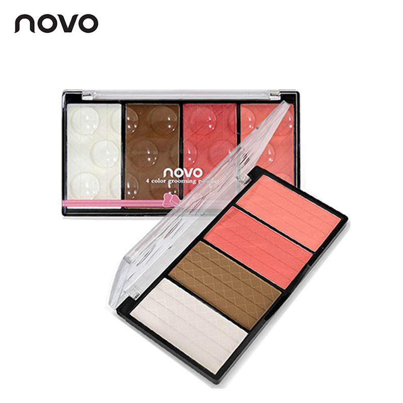 NOVO Marca Viso Opaco Blush Powder Palette Make Up Bronzer Rouge Guancia Fard Set Trucco Minerale Naturale