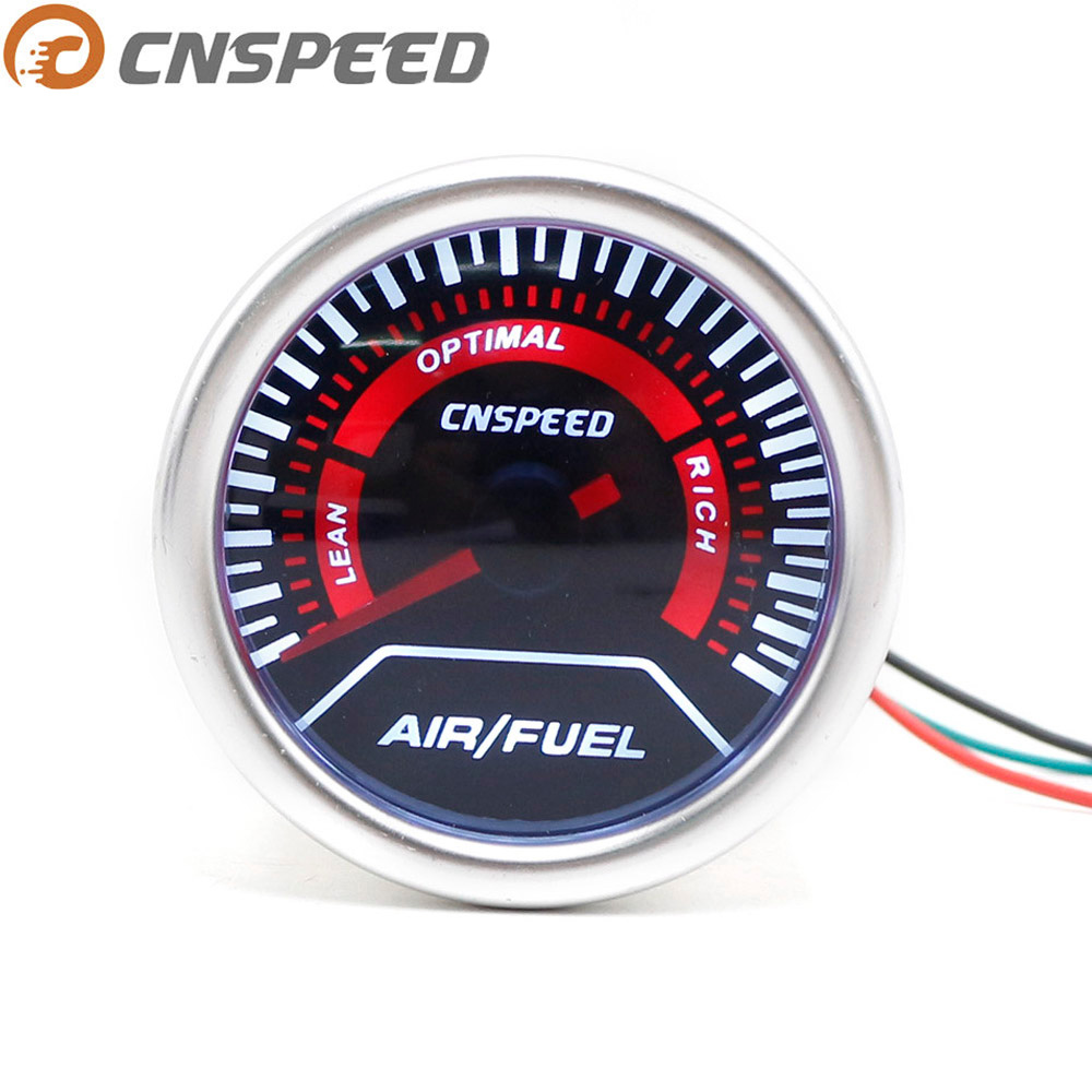 CNSPEED 52mm 12 V Mobil Auto Air Rasio Bahan Bakar Gauge Lensa Asap Putih Led light Air Fuel Ratio Meter Mobil AFR Meter Jarum Merah YC101233