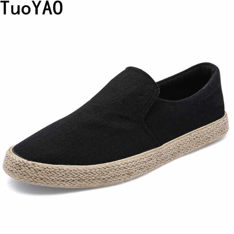 50f7a5ef970a New 2018 Spring Fashion Men Canvas Shoes Espadrilles Men Casual Shoes Slip  on Breathable Loafers Men