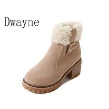 цены Women's Winter Ankle Boots Female Zipper Flock Platform Snow Boot Short Plush Round Toe Martin Boots Winter Cotton Shoes