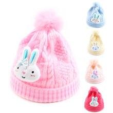 Cotton Newborn Baby Hat With Pompom Rabbit Knitted Girls Beanie Warm Winter Baby Hat Cute Newborn Beanie Baby Girls Clothing