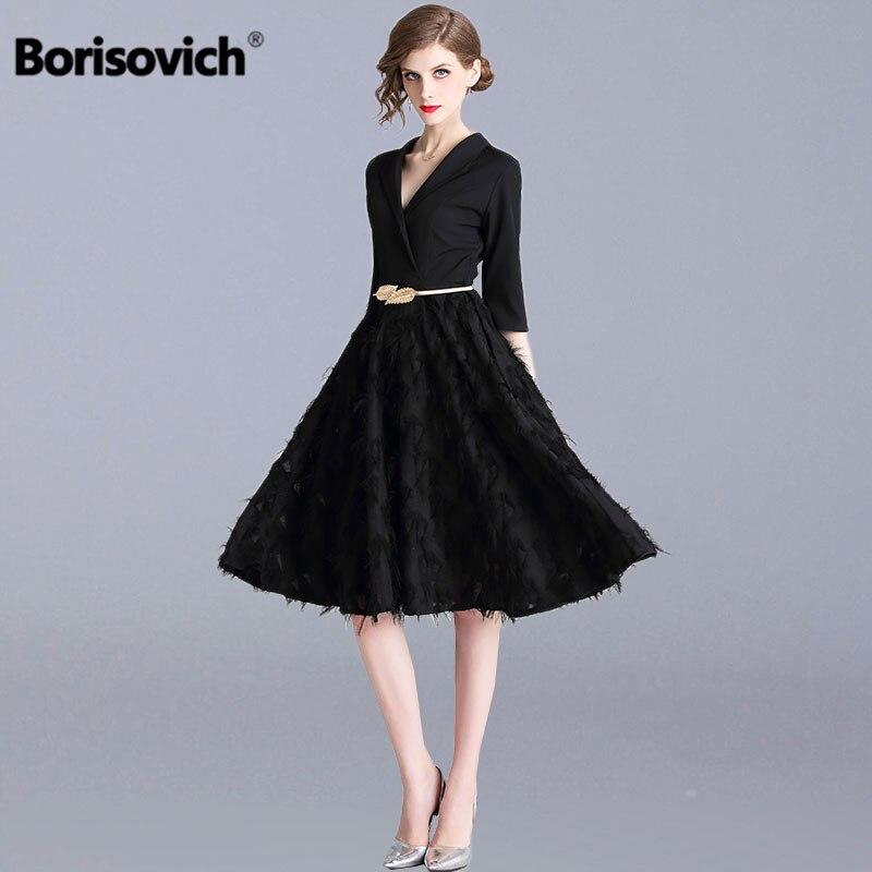 Borisovich Ladies Elegant Party Dresses New Brand 2019 Spring Fashion V neck Knee length A line