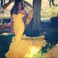 Vestidos De Graduacion Largos 2015 Sexy Yellow Vintage Long Prom Dresses Custom Made Formal Party Gowns