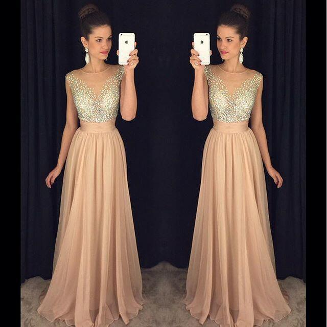 Shinny Sequin Prom Dresses Blush Pink A Line Sheer Neck Evening ...
