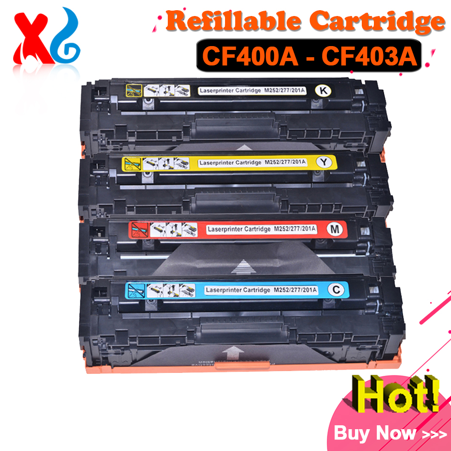 Hot CF400A CF401A CF402A CF403A Toner Cartridge for HP Color Laserjet Pro M252 M252n M252dw M277 M277dw M277n Printer Parts for hp 283 cf283a toner powder and chip for hp laserjet pro mfp m125 m127fn m127fw laser printer free shipping hot sale