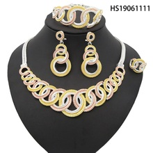 Yulaili Fashion African Dubai Gold Jewelry Nigerian Silver Necklace Earrings Italian Bridal Sets Wedding Accessories