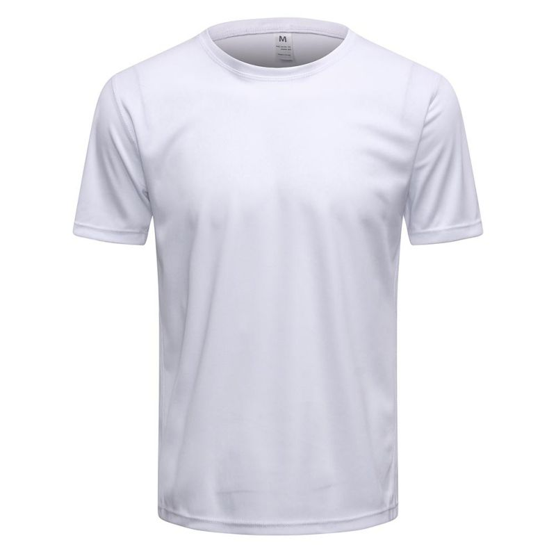 Men Short Sleeve Fitness Casual Quick-dry T-shirt Elastic O Neck T Shirt Fashion Solid T Shirt