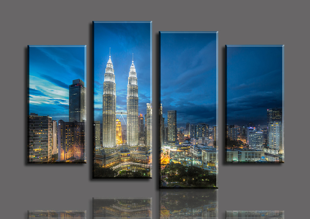 4 Panels Skyscrapers HD Canvas Print Painting Home Decor Wall Art Picture For Living Room Modular picture (Unframed)
