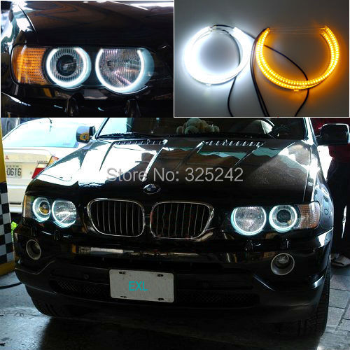 For BMW E53 X5 2000 2001 2002 2003 Excellent Ultra bright Dual Color Switchback smd LED Angel Eyes Halo Rings kit super bright led angel eyes for bmw x5 2000 to 2006 color shift headlight halo angel demon eyes rings kit