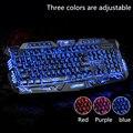 Luz de Fondo ajustable Rojo/Púrpura/Azul LED Pro M200 Teclado Para Juegos Con Cable USB Alimentado Completa Llave en mano para LOL teclado ruso