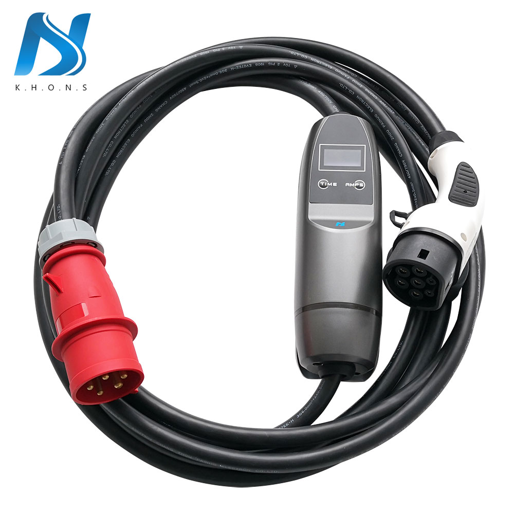 Khons 22KW 3 Phase EVSE Type 2 Electric Car Vehicle EV Charger With Red CEE Plug