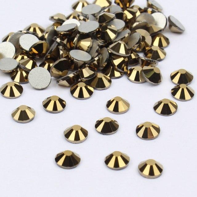 זהב המטיט 3D אמנות ללא תיקונים קריסטל Rhinestones לציפורניים אמנות קישוט דבק על זכוכית יהלומי חתונת שמלות 1506