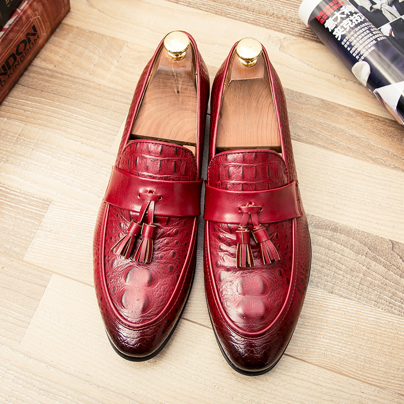 mens tassel shoes leather italian formal snake fish skin dress office footwear luxury brand fashion elegant oxford shoes for men (43)