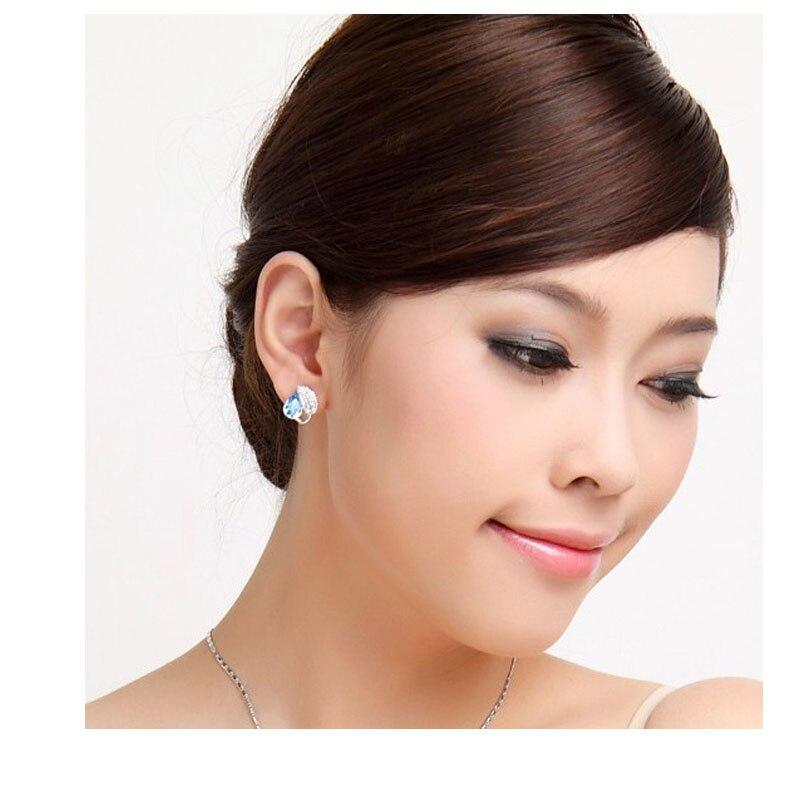 Летняя жизнь лист красивая капля воды для женщин океанический синий кристалл кулон Ювелирные наборы ожерелье серьги 2 в наборе 84172
