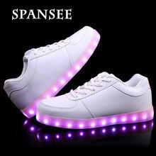 Хорошее Качество USB LED Shoes with Light Up Спорт Flash тренеры Светящиеся Светящиеся Кроссовки со Светом Подошвы Мальчиков Дети 10