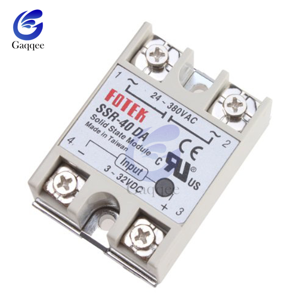 SSR-40DA 40A Input 3-32V DC Output 24-380V AC Solid State Relay Module Single Phase Semi-Conductor Relay Shield Board