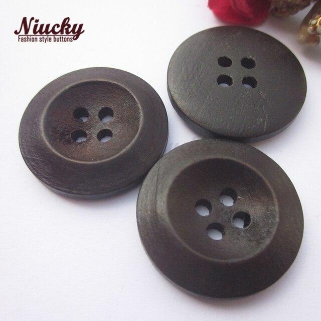 Niucky-manteau en bois de forme inversée | Boutons café foncé de 25mm pour vêtements, accessoires artisanaux décoratifs,