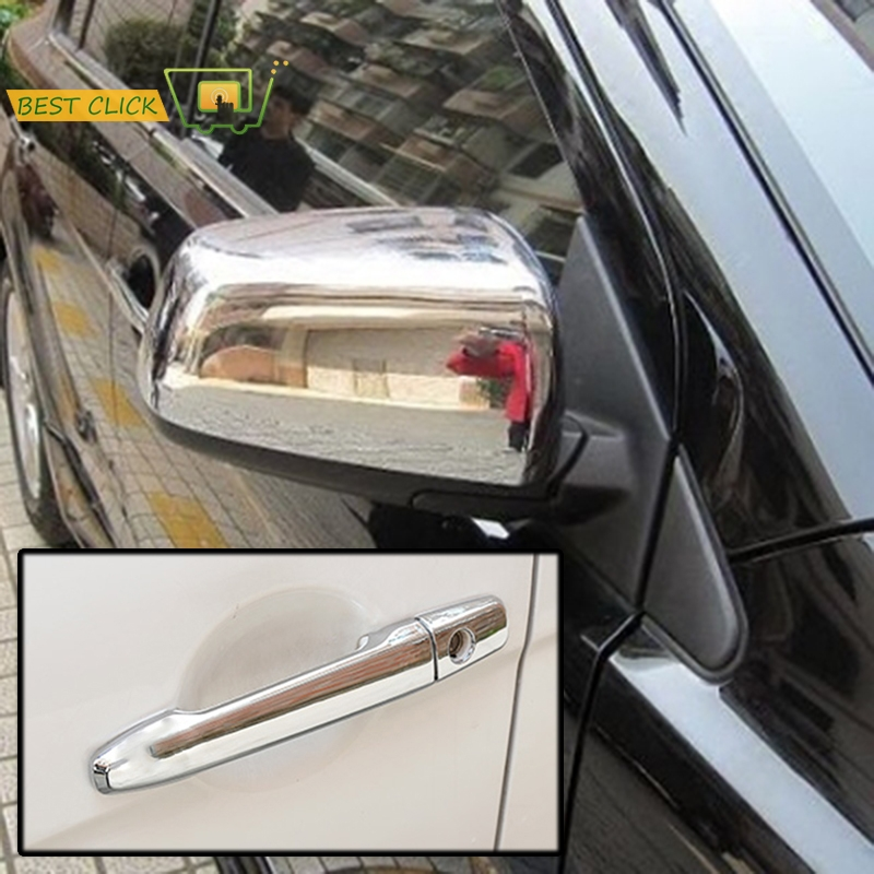 MISIMA 10Pcs Set Chrome Side Rear View Mirror Door Handle Covers Trim Moulding Covers For Mitsubishi Lancer Evolution X 08-15(China)
