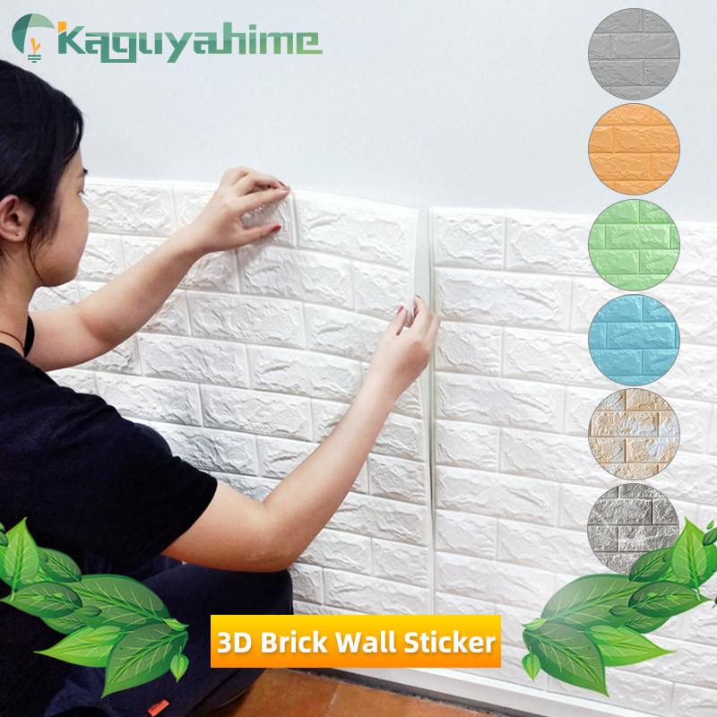 Kaguyahime 3D Wall Stickers DIY Self-Adhesive Wallpaper Waterproof Wallpaper Brick Decor Background For Living Room Sticker