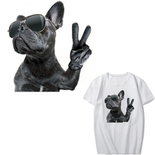 Iron on Cool Dog with Glasses Patches for Clothing DIY T-shirt A-level Washable Stickers Iron-on Transfer Appliques Clothes