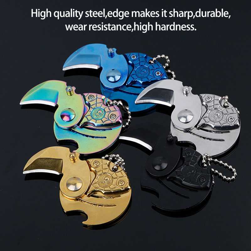 Keychain With Hanging Key Chain Survival Outdoor Self Personal Defense Mini Folding Coin Knife EDC Carry Tool Small Pocket Knife