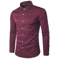 MarKyi 2017 Men Dress Shirts Long Sleeve Fashion Solid Color High Quality Shirts Cotton Comfort Slim