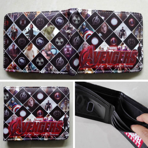 2018 Marvel The Avengers characters Logo wallets Purse Multi-Color 12cm Leather W158 2018 movie the terminator t850 skull logo wallets purse multi color 12 cm leather w211