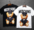 [wiki's store]Barbie Series Bear Bear printing loose T-shirt and long sections letter cartoon short O-Neck woman tees