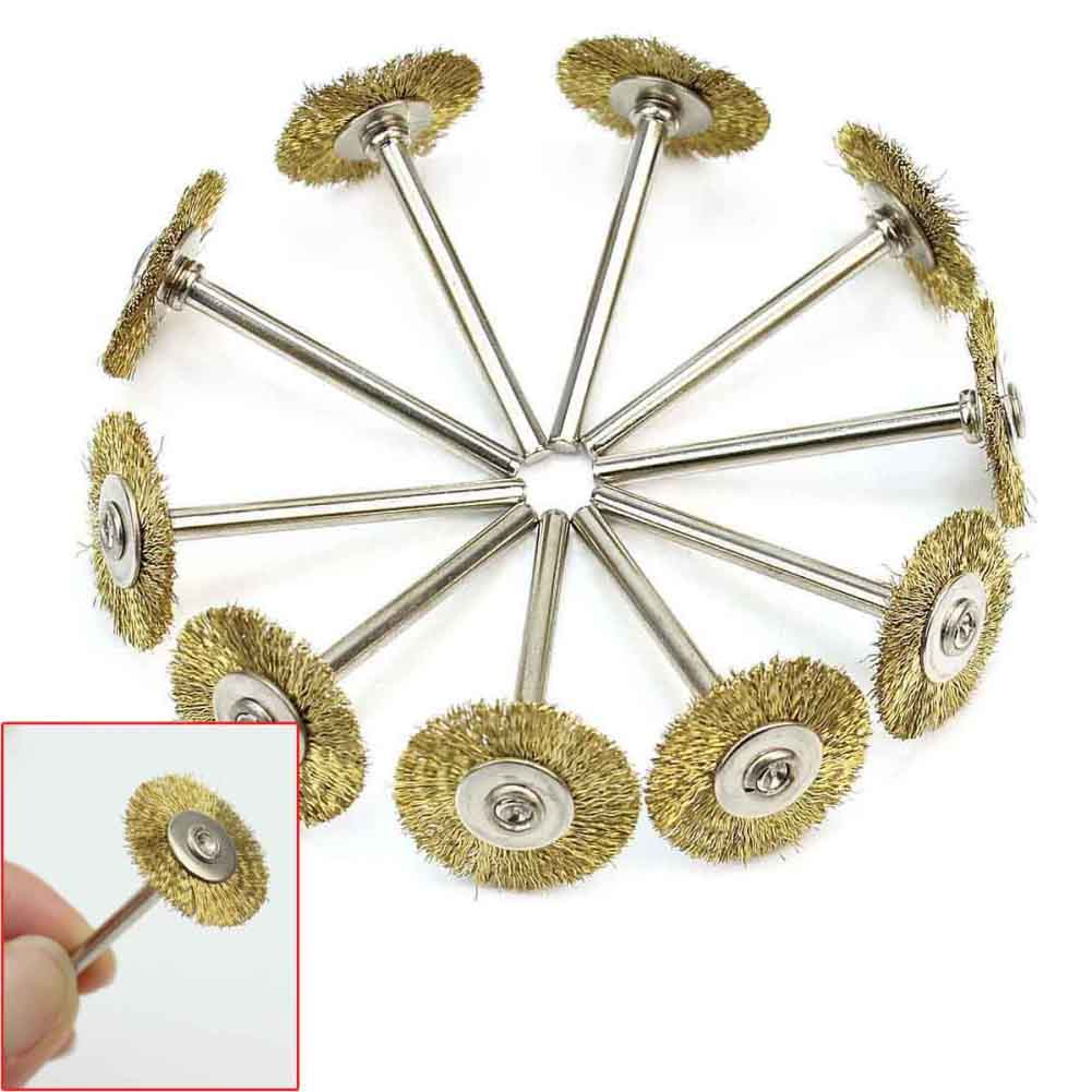 10x rotary mini tools steel wire wheel brushes cup rust cleaning - 10 Gold Circular Brass Wire Brush Removing Dirt Rust Paint For Jewelers Locksmiths Technicians Cleaning Tools